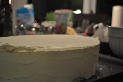 First layer of Buttercream Frosting