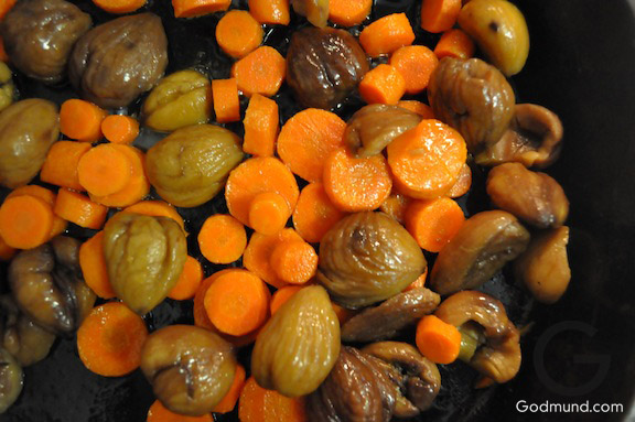 Carrots and Chestnuts in Butter for Thanksgiving