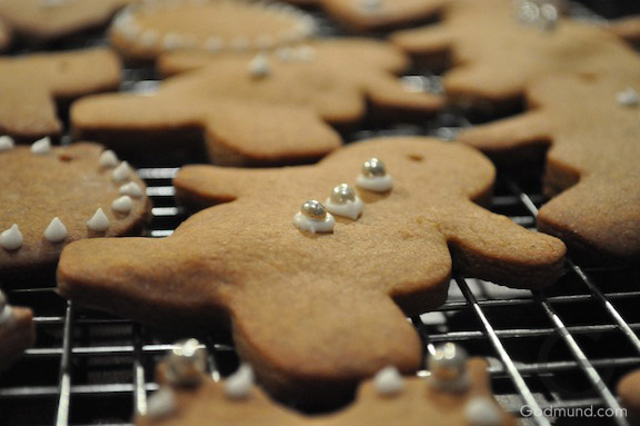 gingerbread cookies decorated as christmas ornaments