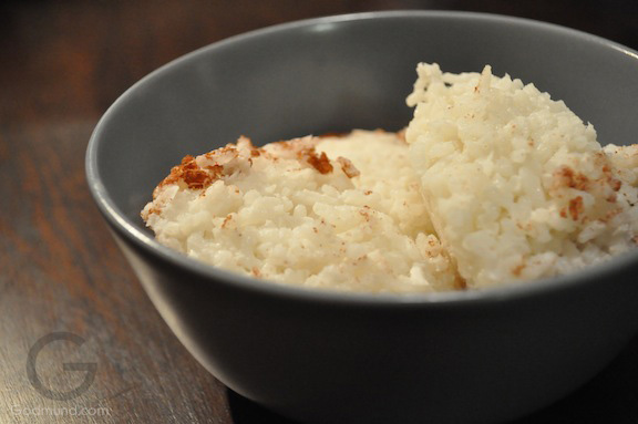 rice pudding with coconut and cardamom