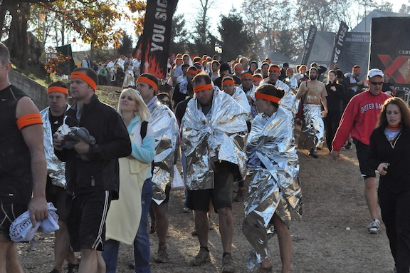 Folks staying warm in line after Toughmudder 2011 at Wintergreen