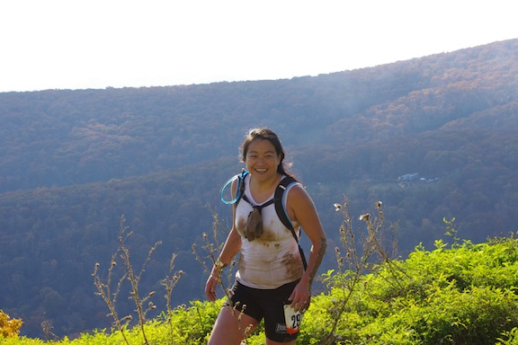 Karen at the top of Toughmudder Virginia 2011!