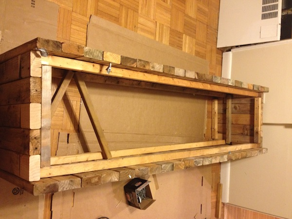 Image of bench framed out without the top added. Bracer bars showing