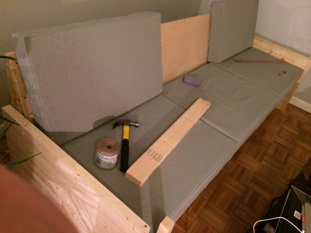 image of the 2x4 sofa under costruction
