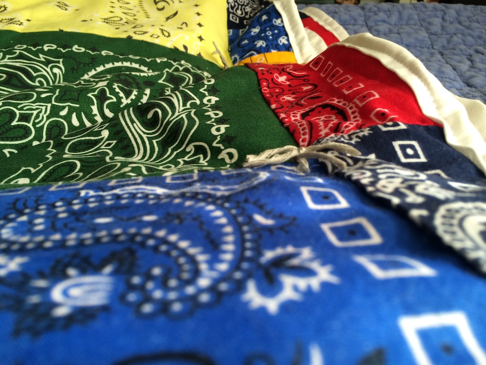 Detail view of handkerchief quilt - godmund.com